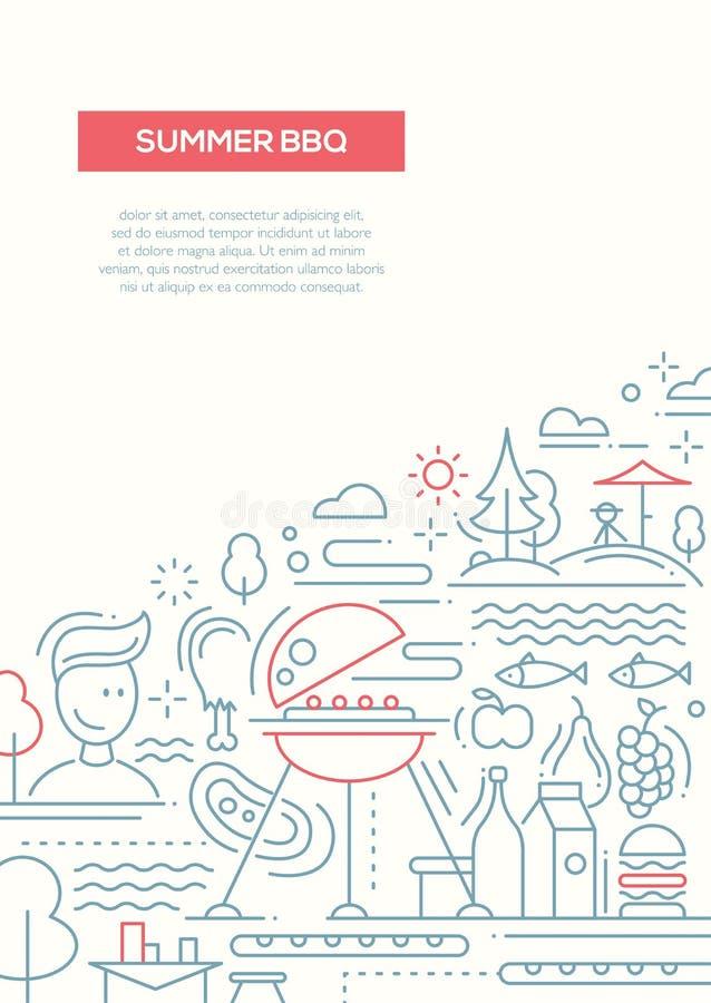 Lato grill i pinkin linii projekta plakat royalty ilustracja