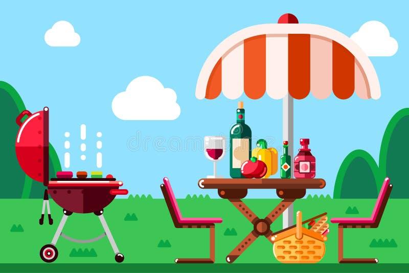 Lato grilla pinkin, wektorowa płaska ilustracja BBQ grill, parasol, stół z jedzeniem i wino na łące, royalty ilustracja