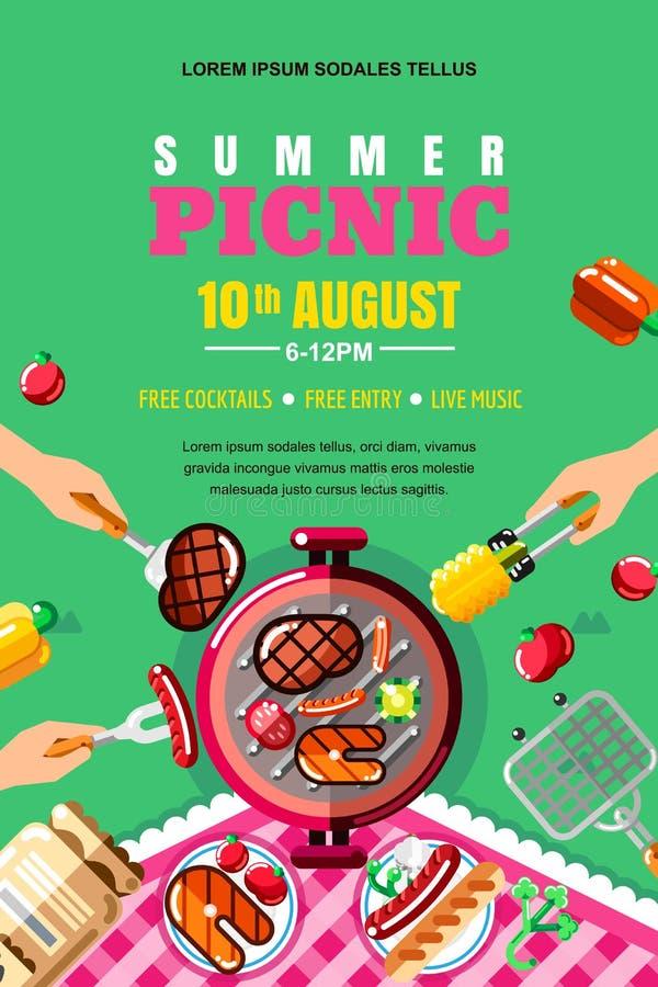 Lato grilla pinkin, wektorowy plakat, sztandaru układ Odgórnego widoku BBQ grill z stkiem, ryba Istot ludzkich ręki z jedzeniem royalty ilustracja
