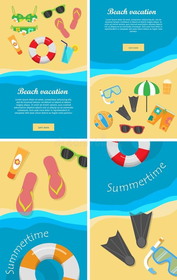 Lato i plaża Urlopowi plakaty Ustawiający ilustracji
