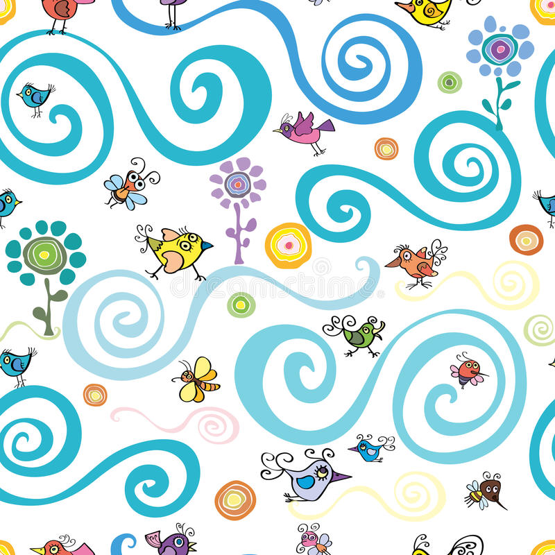 Lato i wiosna wzór z ptakami i pszczołami ilustracja wektor