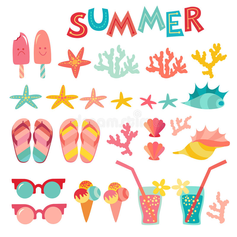 Lato ikona ustawiająca na białym tle Morze, wakacje, skorupy, koral ilustracji