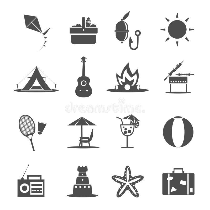 Lato ikony czerń ilustracji