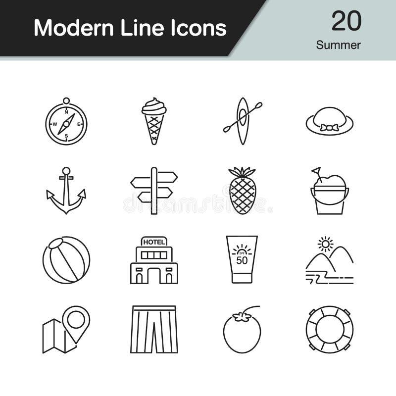 Lato ikony Nowożytny kreskowy projekt ustawia 20 Dla prezentaci, wykres ilustracji