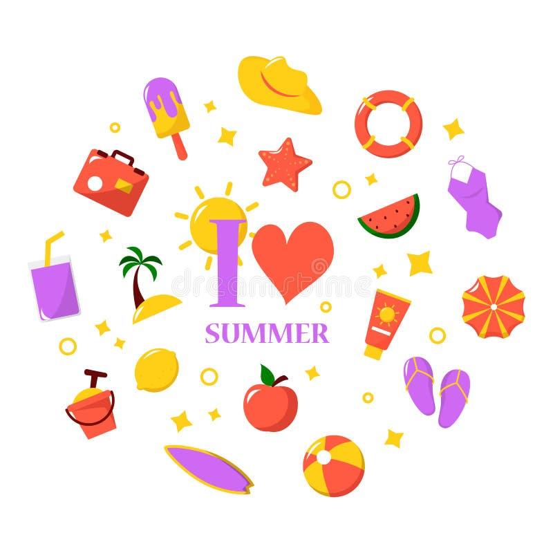 Lato ikony set Podróż, wakacje i turystyki kolekcja, ilustracji