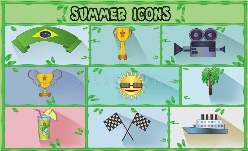 Lato ikony ustawiać z Brasil flaga faborkiem, wiec flaga i lemoniadą, mieszkanie styl ilustracji
