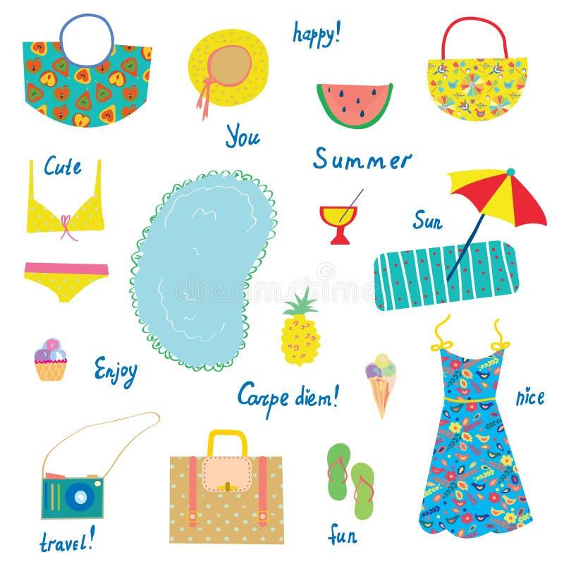 Lato ikony ustawiają, śmieszny projekt dla wakacji -, podróż ilustracja wektor