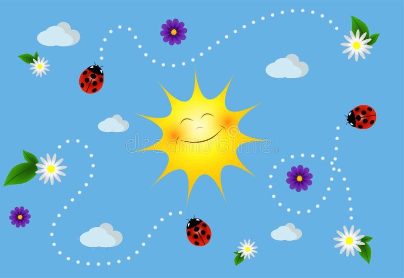 Lato ilustracja: niebo, słońce, kwitnie obrazy royalty free