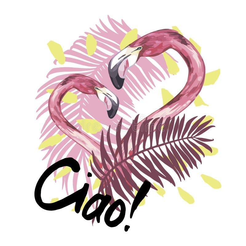 Lato ilustracja z flamingiem Tropikalny Ptak Lato projekt Koszulki mody grafika R?ka rysuj?cy literowanie ciao ilustracja wektor