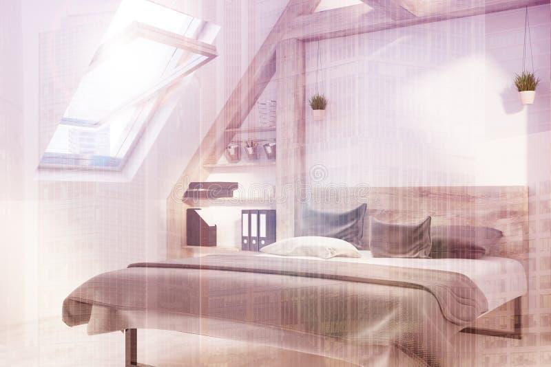 Lato interno della camera da letto della soffitta tonificato illustrazione vettoriale