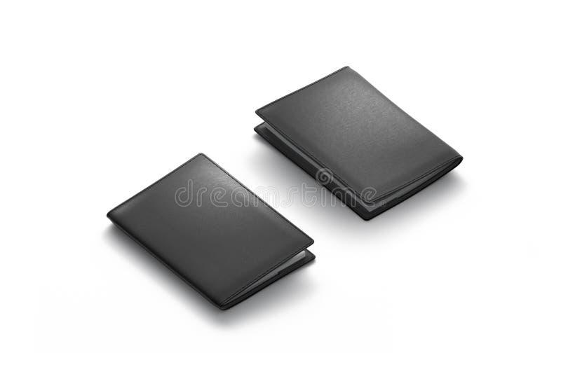 Lato isolata, anteriore e posteriore nero in bianco del modello della copertura del passaporto, fotografia stock libera da diritti