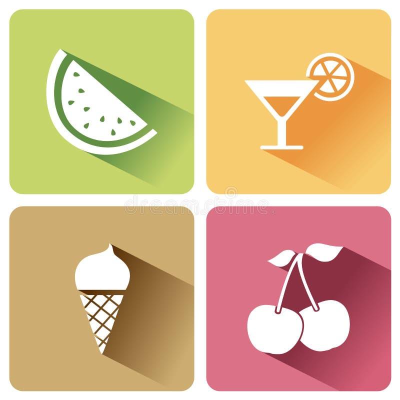 Lato karmowe ikony z cieniem na białym tle ilustracji