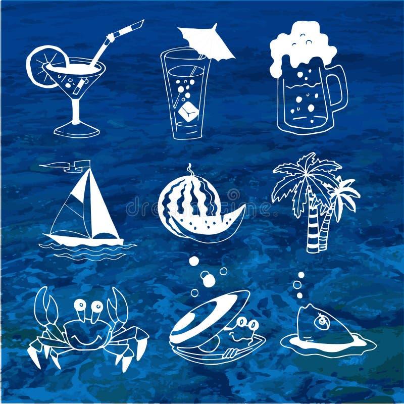 Lato karmowy i napój ikony o podróży ilustracja wektor
