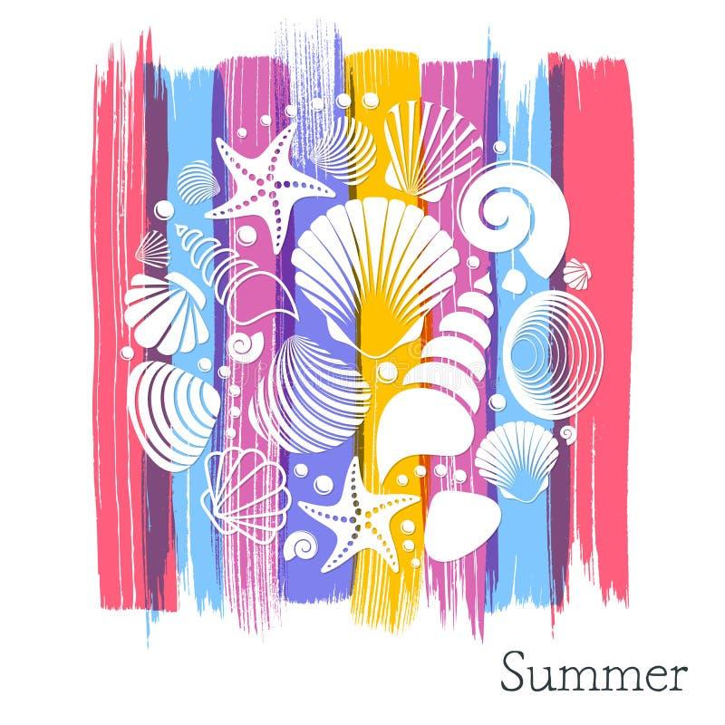 Lato karta z białego morza skorupami royalty ilustracja
