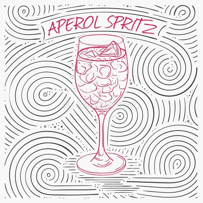 Lato karta Z literowaniem - Aperol Spritz Ręcznie pisany zawijasa wzór Z koktajlem W szkle royalty ilustracja