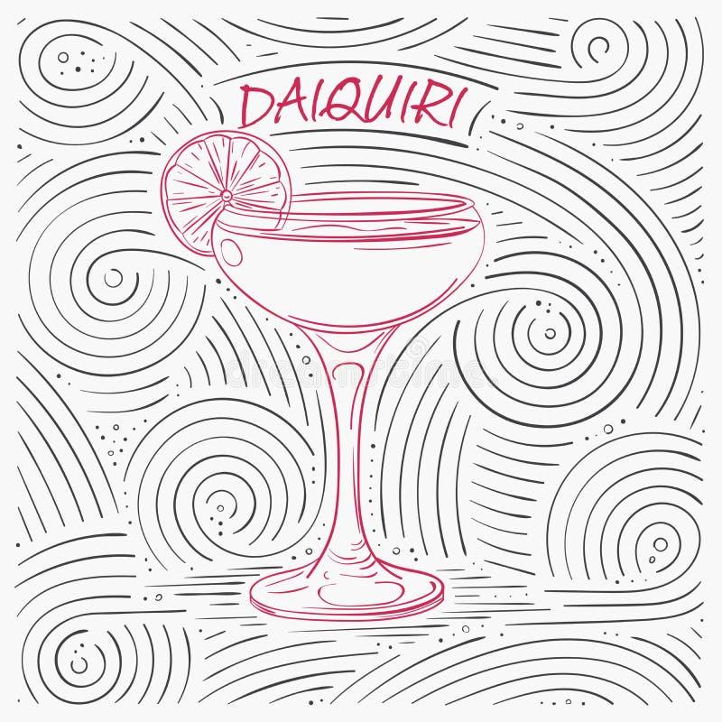 Lato karta Z literowaniem - Daiquiri Ręcznie pisany zawijasa wzór Z koktajlem W szkle royalty ilustracja