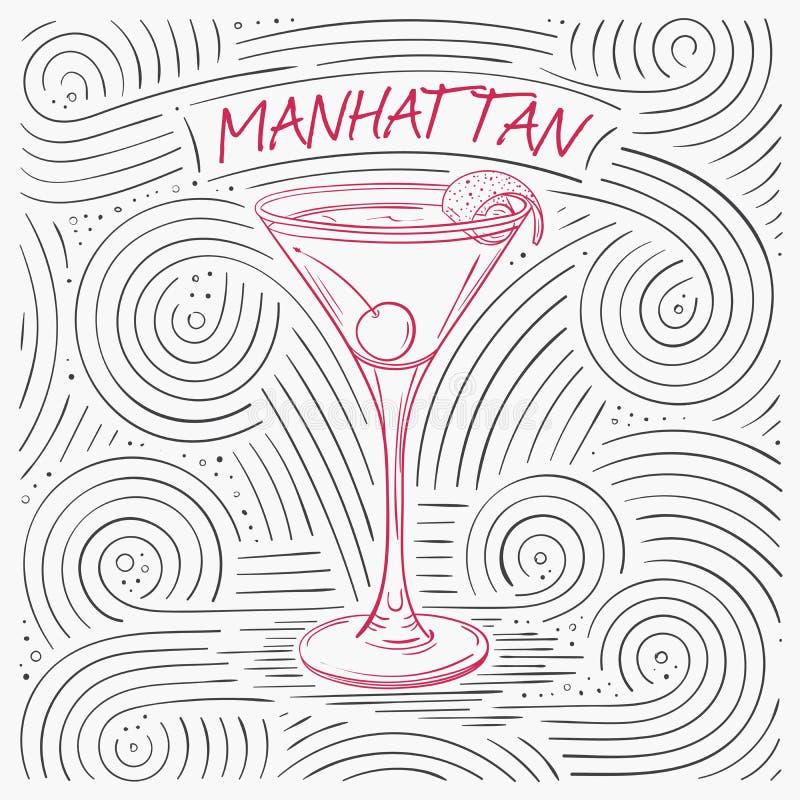 Lato karta Z literowaniem - Manhattan Ręcznie pisany zawijasa wzór Z koktajlem W szkle royalty ilustracja