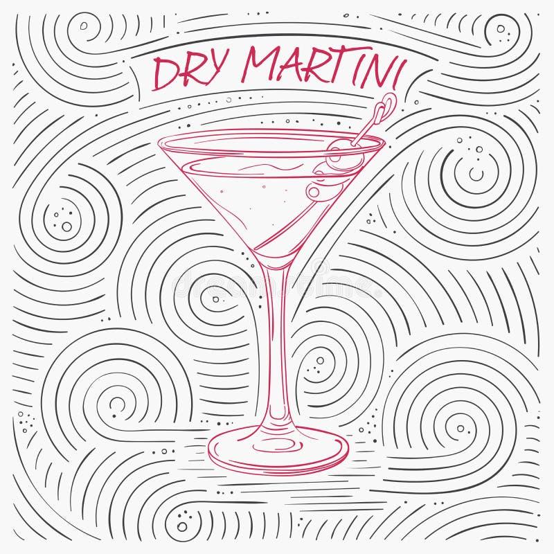 Lato karta Z literowaniem - Suchy Martini Ręcznie pisany zawijasa wzór Z koktajlem W szkle ilustracji