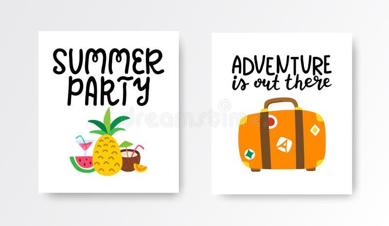 Lato karty ustawia? Kolorowi plakaty z ręki literowaniem Wakacji sztandary inkasowi z ręka rysujący tropikalnym ilustracja wektor