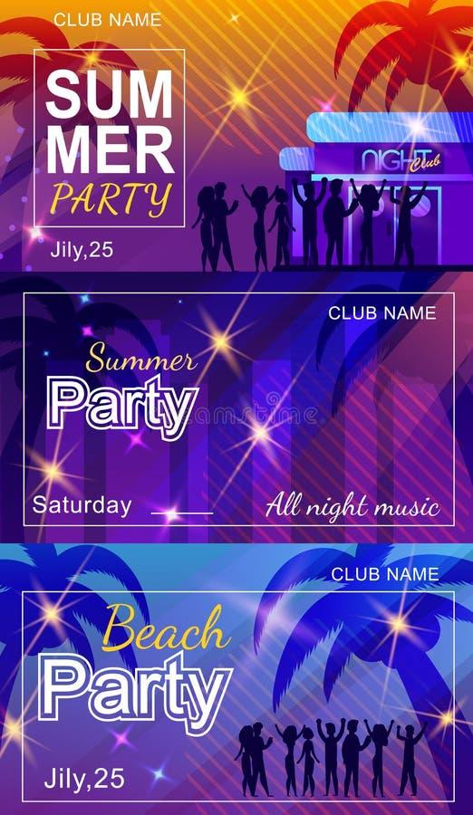Lato klubu lub plaży zaproszenia ulotki Partyjny set ilustracji