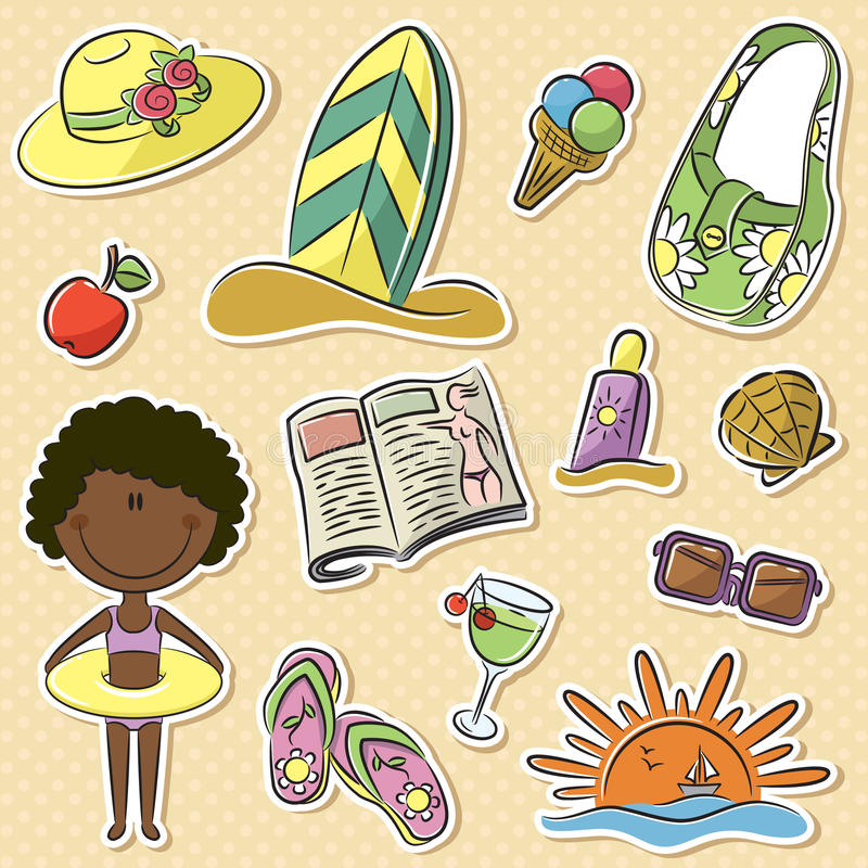 Lato kobiety urlopowe ilustracji