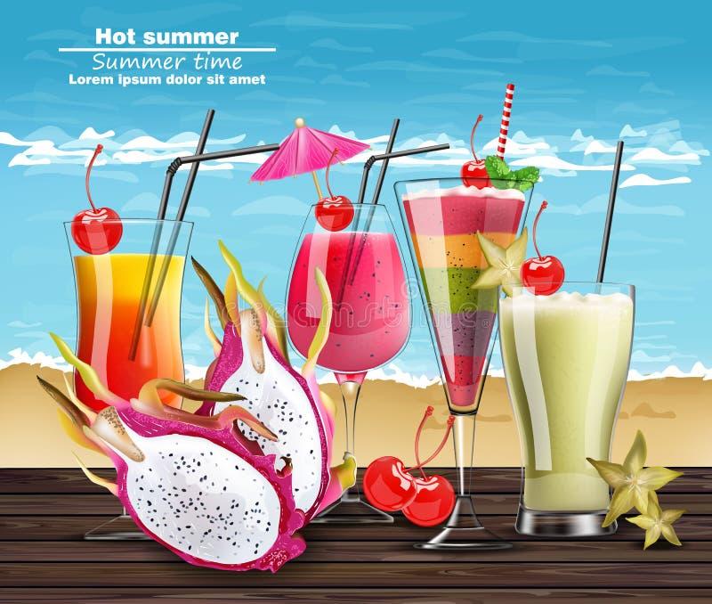 Lato koktajl pije Wektorowego realistycznego sztandar Plażowy gorący szablon z egzotycznymi tropikalnymi napojami inkasowymi 3D i royalty ilustracja