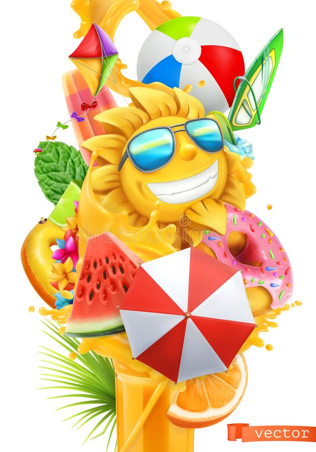 Lato koktajlu 3d wektor Pluśnięcie sok i tropikalne owoc royalty ilustracja