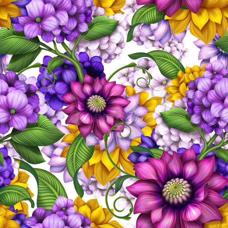 Lato kolorowy kwiecisty bezszwowy wzór royalty ilustracja