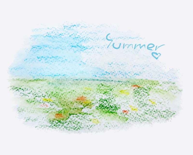 Lato krajobraz, akwareli ilustracja, wektor ilustracja wektor
