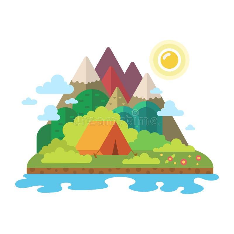 LATO krajobraz Ranek w górach Samotność w naturze rzeką Weekend w namiocie Wycieczkować i obozować ilustracji