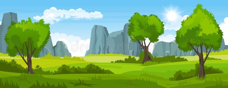 Lato krajobraz z polami, drzewa i góry ilustracji