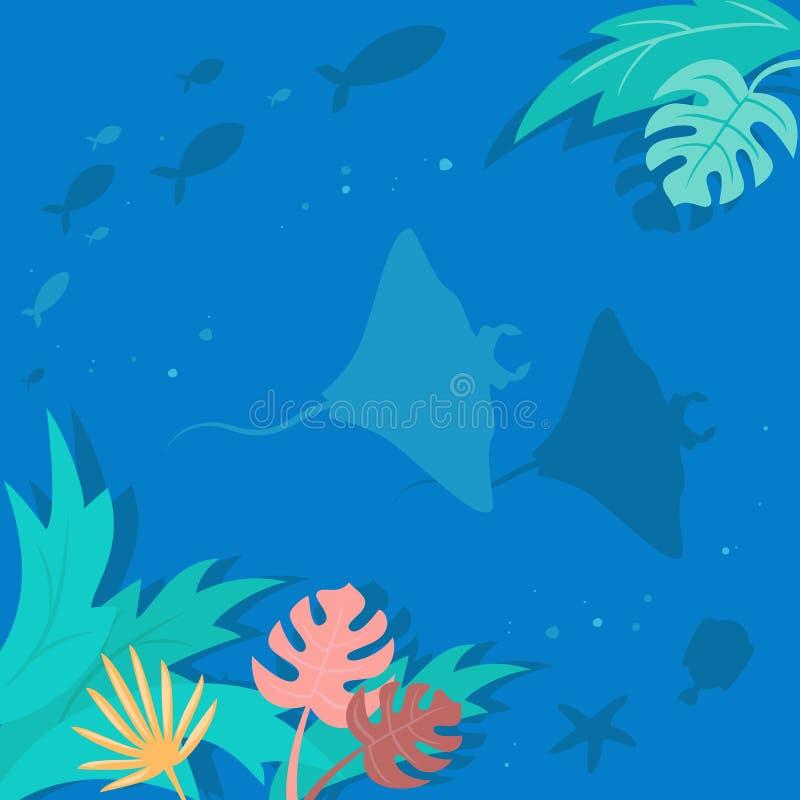 Lato krajobraz z tropikalnymi roślinami i rybą royalty ilustracja