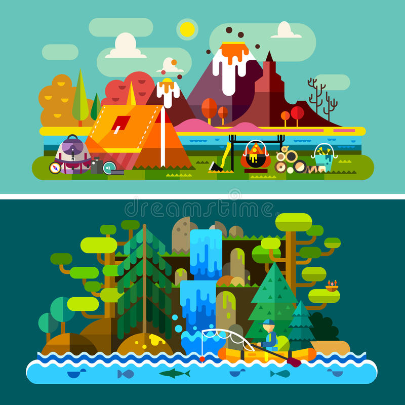 Lato krajobrazy royalty ilustracja