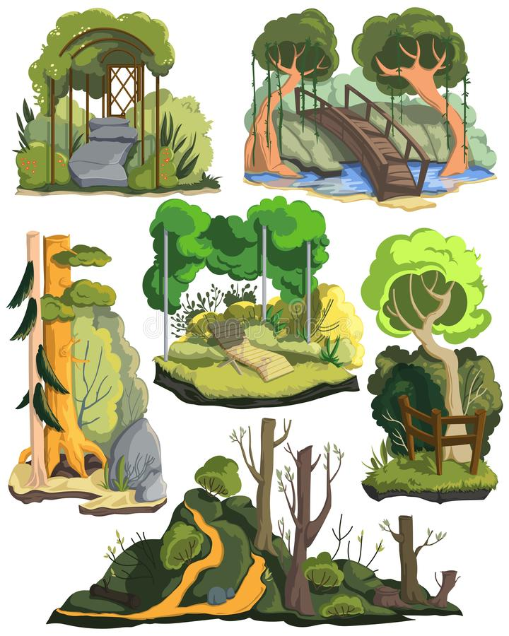 Lato krajobrazy Ustawiaj?cy Piękna ogródu, lasu i łąki sceneria z drzewami, rośliny, krzaki, kwiaty Odosobneni elementy na bielu ilustracji