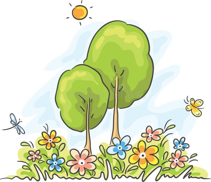 Lato kreskówki krajobraz ilustracji