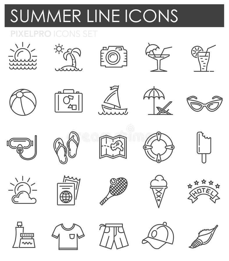 Lato kreskowe ikony ustawiać na białym tle dla grafiki i sieci projekta, Nowożytny prosty wektoru znak kolor tła pojęcia, niebies ilustracji