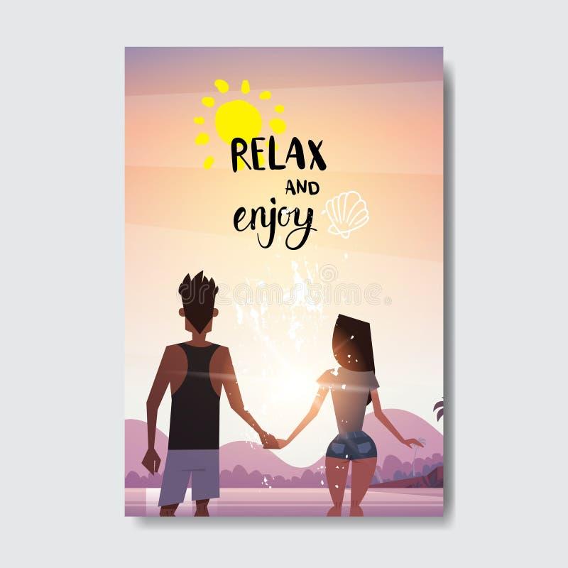 Lato miłości mężczyzna kobiety pary portreta mienia ręki patrzeje zmierzchu tylni widok relaksują krajobraz odznaki projekta plaż ilustracja wektor
