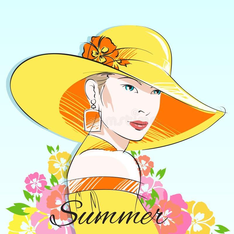 Lato mody dziewczyna w żółtym kapeluszu ilustracja wektor