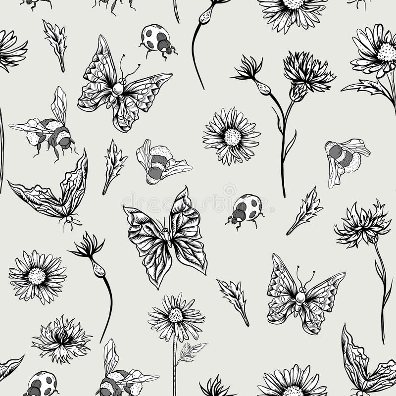 Lato Monochromatycznego rocznika Kwiecisty Bezszwowy wzór royalty ilustracja