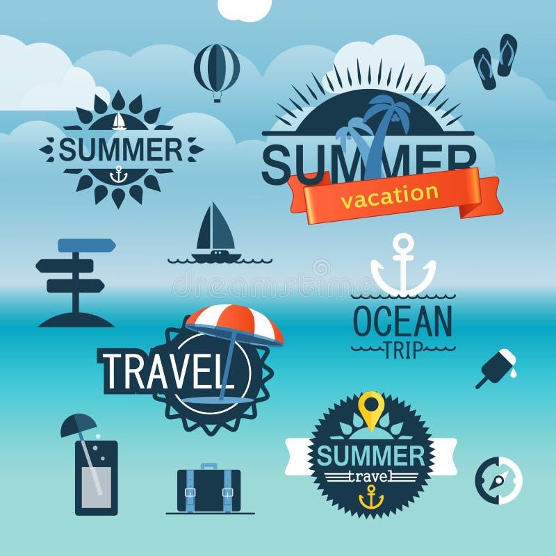 Lato nadmorski wakacje ikony royalty ilustracja