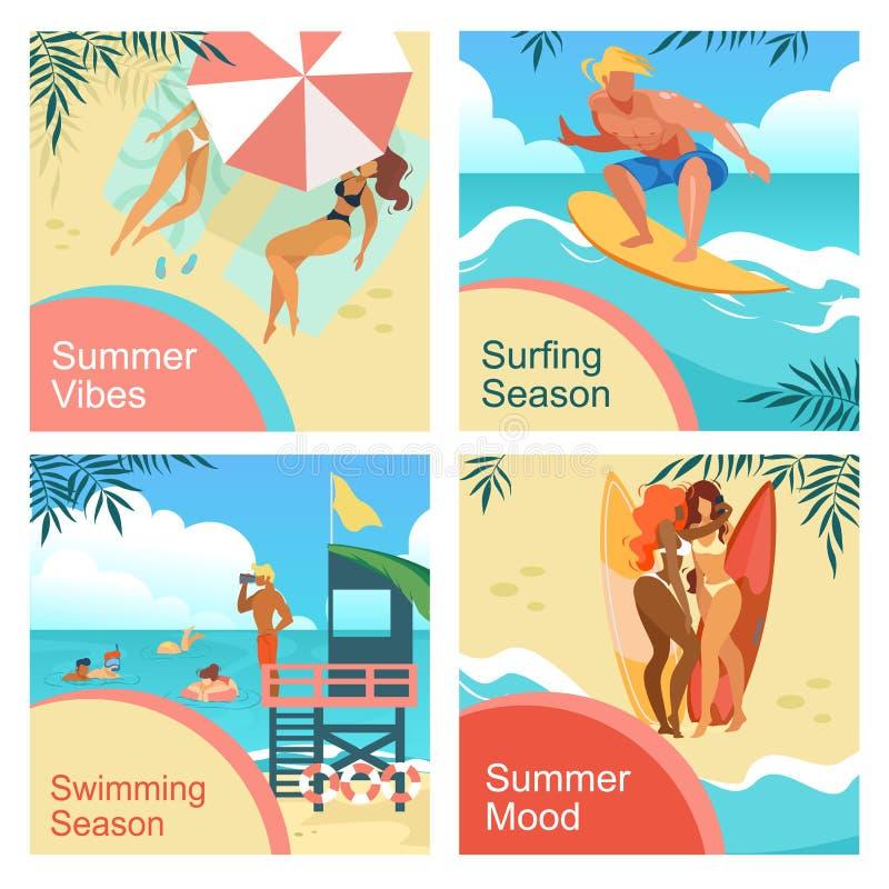 Lato nastrój, klimaty, surfing, Pływa sezonu set ilustracja wektor