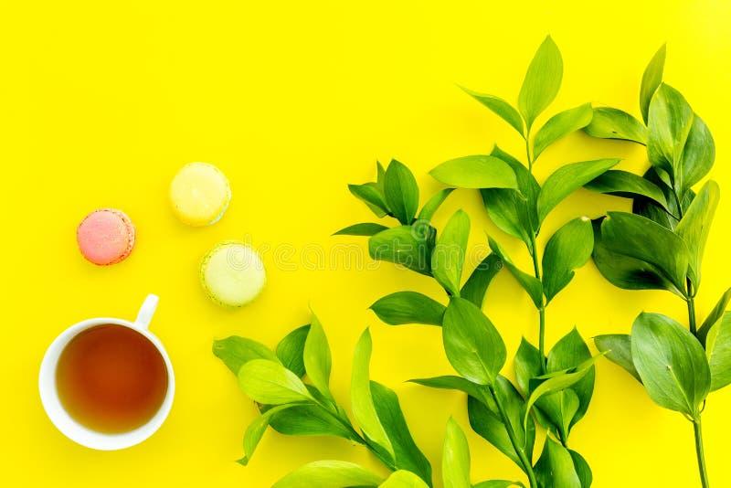 Lato nastrój, lata herbaciany przyjęcie Filiżanka herbaty i cukierków macarons blisko brignt greenery na żółtego tła odgórnym wid obrazy stock