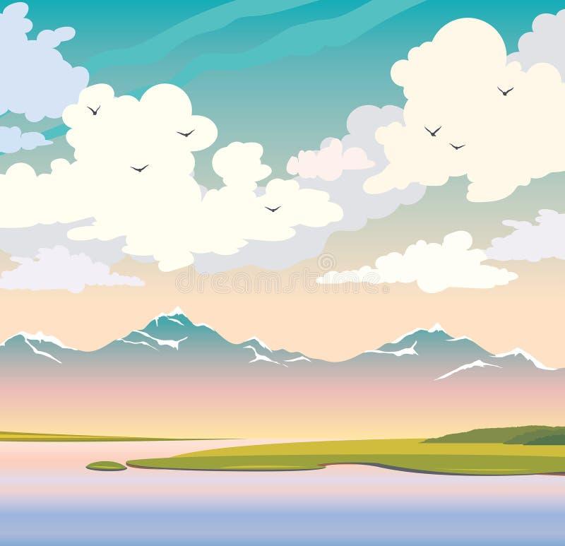 Lato natura - jezioro, góry, wyspa, chmurny niebo ilustracji