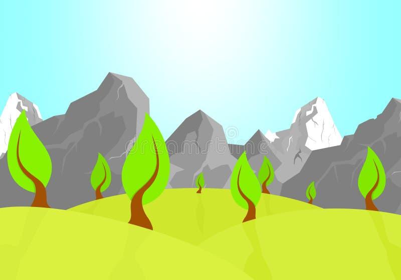 Lato naturalny krajobraz z zielonymi wzgórzami z deciduous drzewami z cieniem z brown bagażnikiem i skalistymi górami z śniegiem  ilustracja wektor