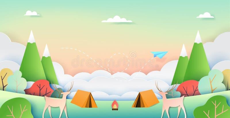 Lato natury campingu papieru sztuki styl ilustracji