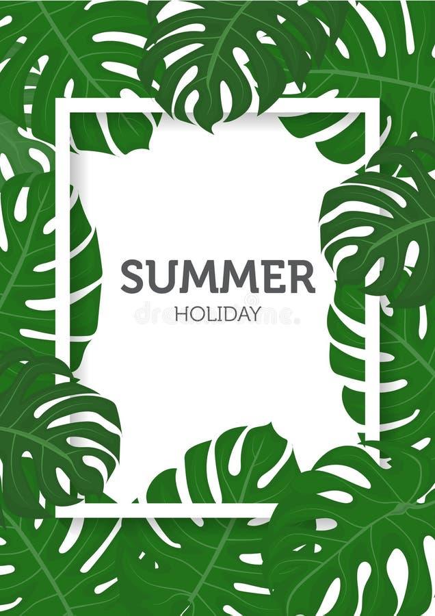 Lato natury pojęcie, palma opuszcza tło royalty ilustracja