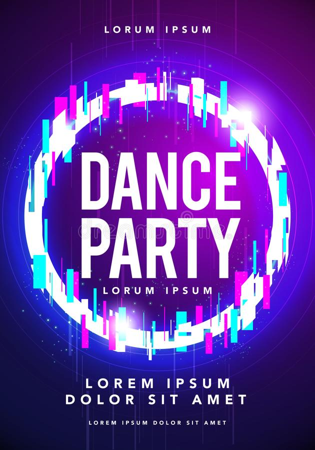 Lato nocy klubu przyjęcia plakata lub ulotki układu szablon Muzykalny electro koncert, wydarzenie, festiwal w stylu techno, minim royalty ilustracja