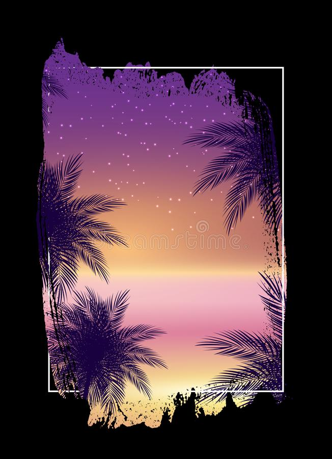 Lato nocy plaży plakat Tropikalny Naturalny t?o z palm? Wystrój dla tkaniny, tkanina, odzieżowa Wektorowa ilustracja ilustracja wektor