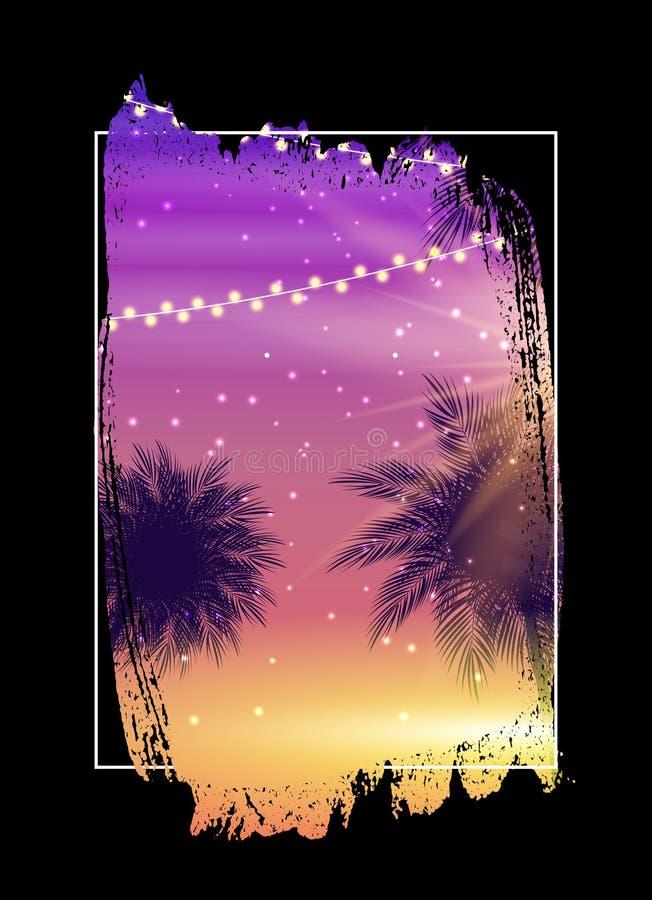 Lato nocy plaży plakat Tropikalny Naturalny t?o z palm? Wystrój dla tkaniny, tkanina, odzieżowa Wektorowa ilustracja royalty ilustracja