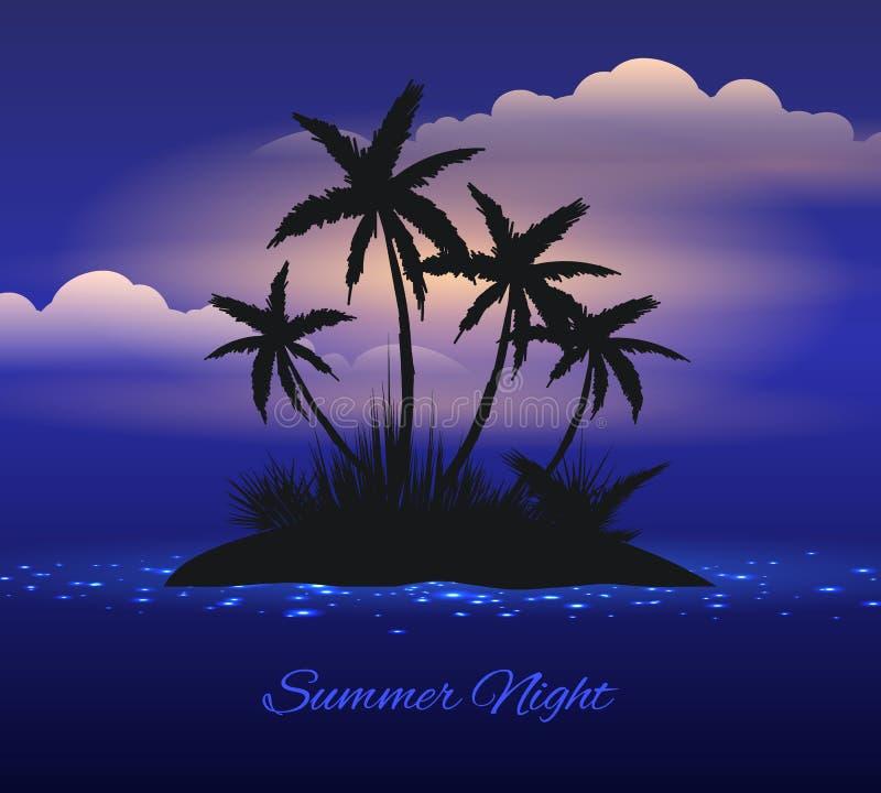 Lato nocy tropikalna wyspa z palmą ilustracji